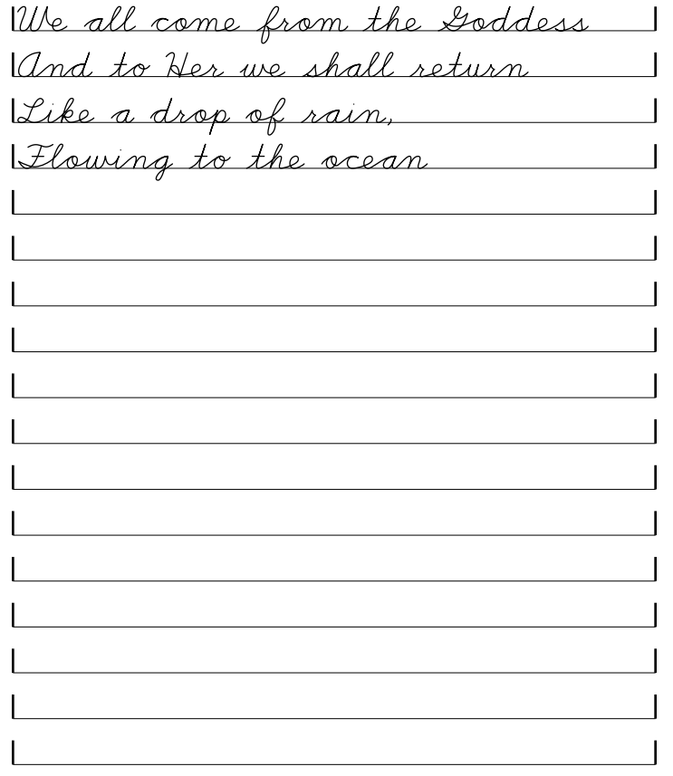 Blank handwriting sheet