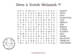 Stones word search puzzles for Pagan kids