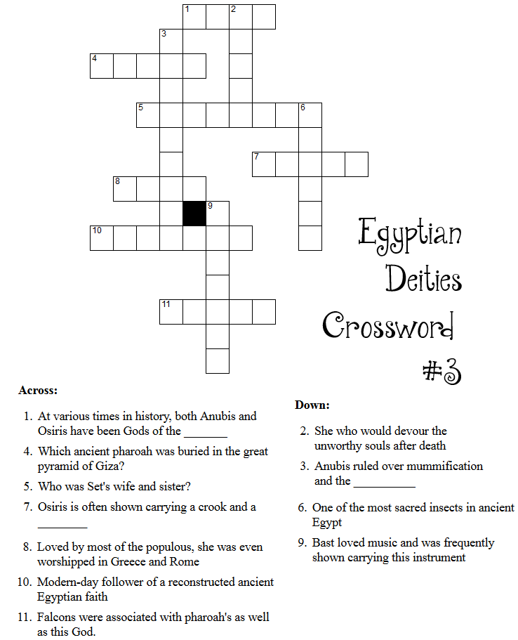 Egyptian Deity Crossword Puzzles Little Pagan Acorns