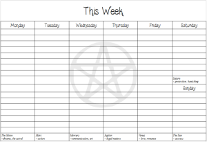 Pagan-themed weekly to-do lists