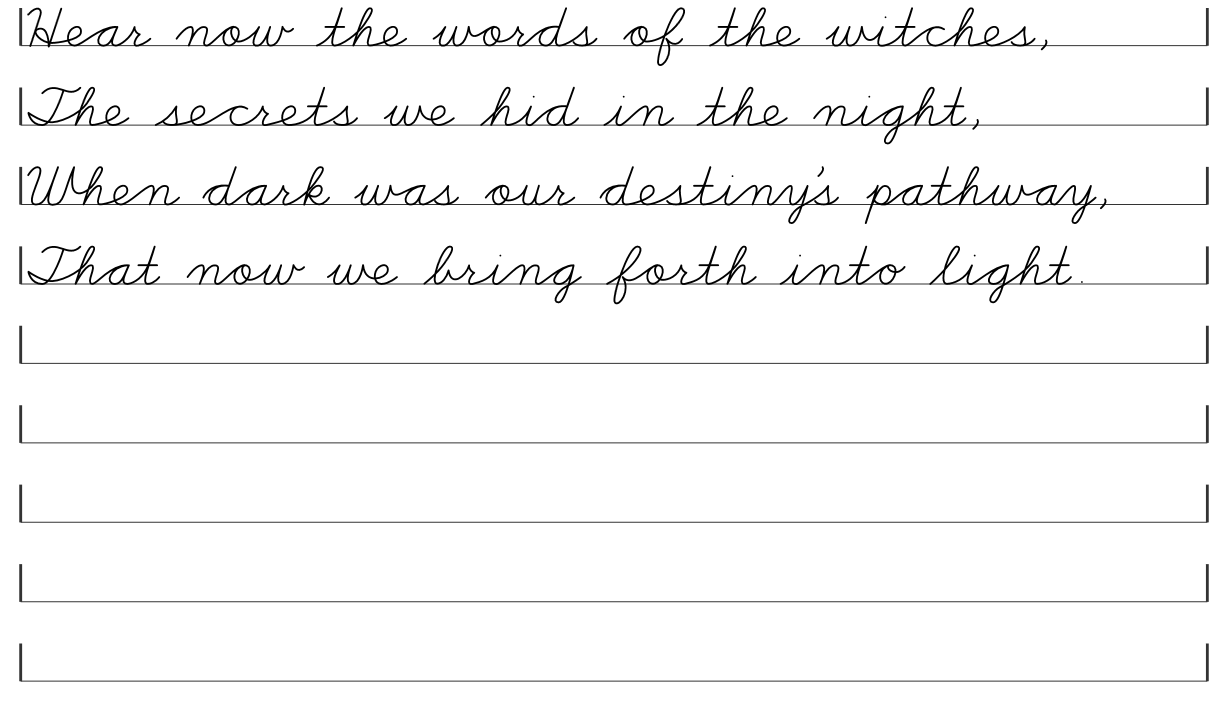 worksheet Cursive Practice Worksheets witchs creed cursive pages little pagan acorns poem printables for pagans