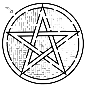 Hand-drawn Pagan symbol maze printables
