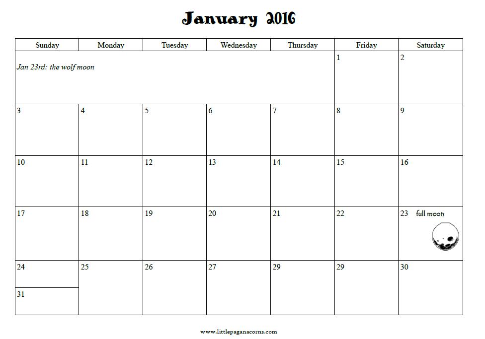 2016 Calendar Pages | Little Pagan Acorns