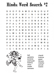 Word search puzzles on various Hindu Gods and Goddesses